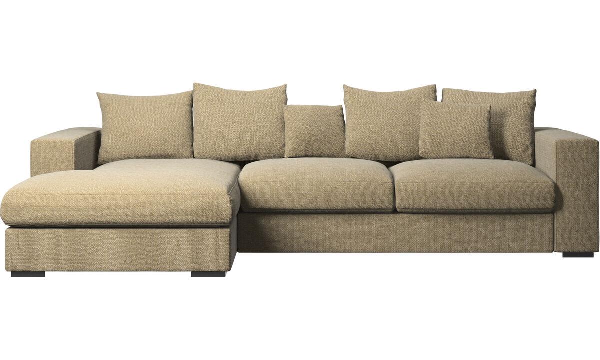 Sofás con chaise longue - sofá Cenova con módulo chaise-longue - En amarillo - Tela