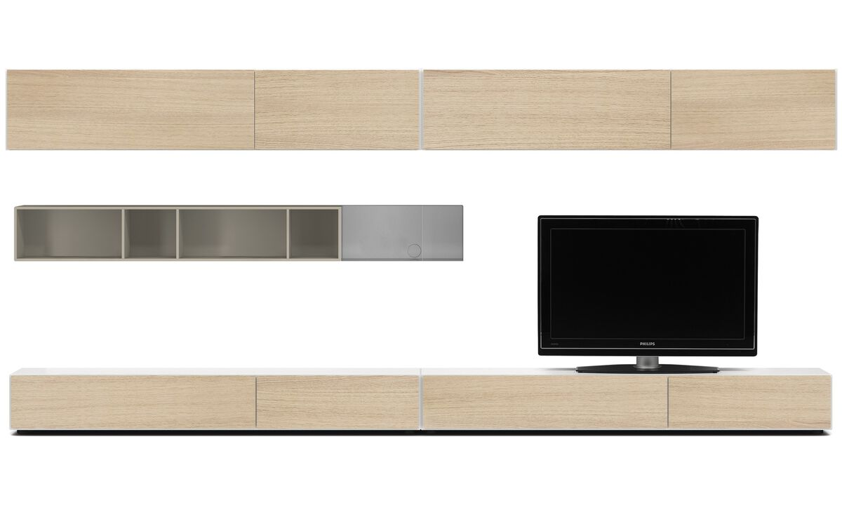 Wall systems - Lugano wall system with drawers, drop-down and flip-up doors - White