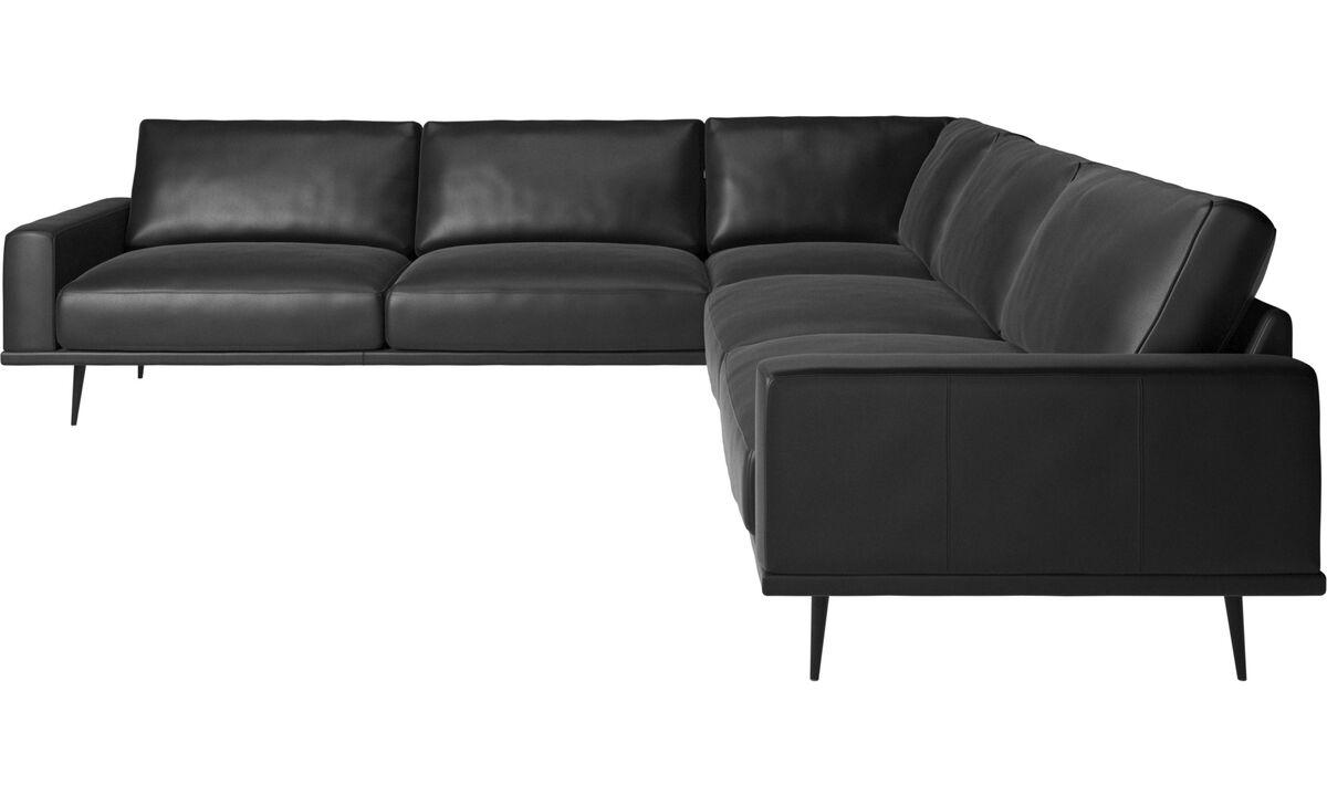 Sofy narożne - Sofa narożna Carlton - Czarny - Skóra
