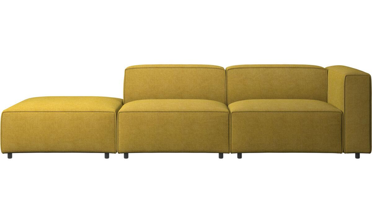 Sofás de 2 plazas - sofá Carmo con módulo de descanso - En amarillo - Tela