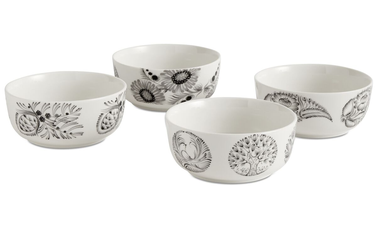 Dinnerware - nora bowls with floral pattern - White - Ceramic