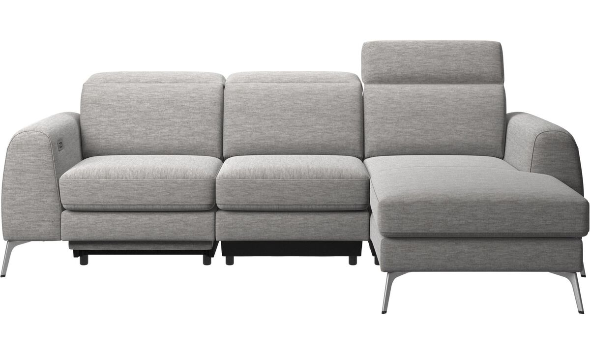 Sofas - Madison sofa with resting unit, and electric seat, head, and footrest motion (transformer and cable plug-in included) - Grey - Fabric