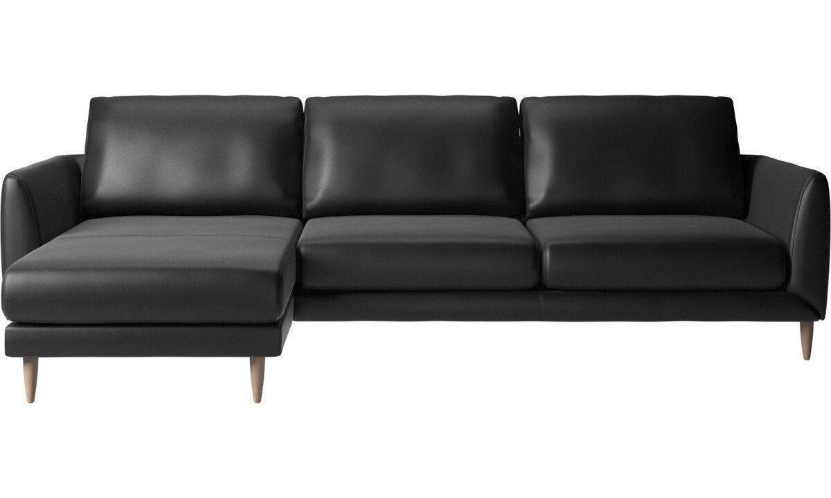 Sofás con chaise longue - Sofá Fargo con módulo chaise-longue - En negro - Piel