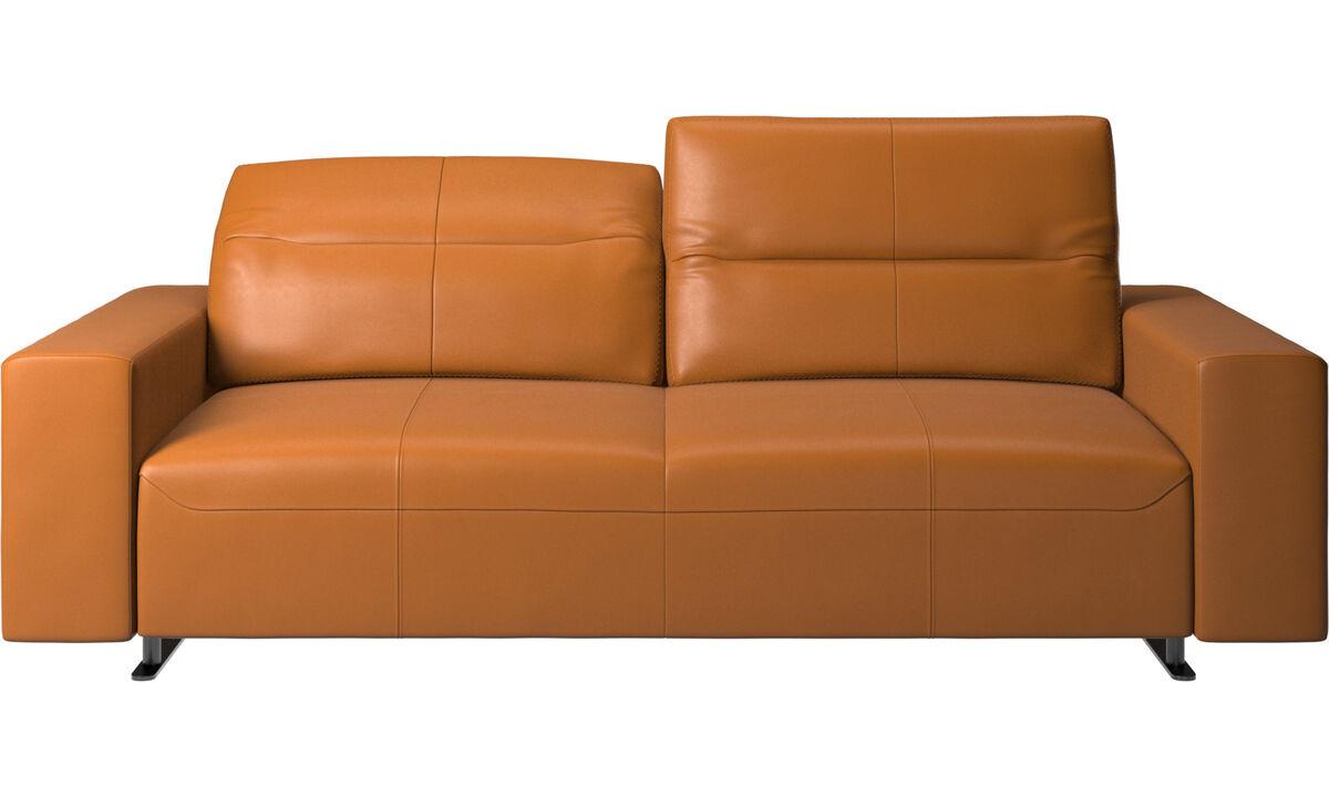 Sofás de 2 plazas y media - Sofá Hampton con respaldo ajustable - En marrón - Piel
