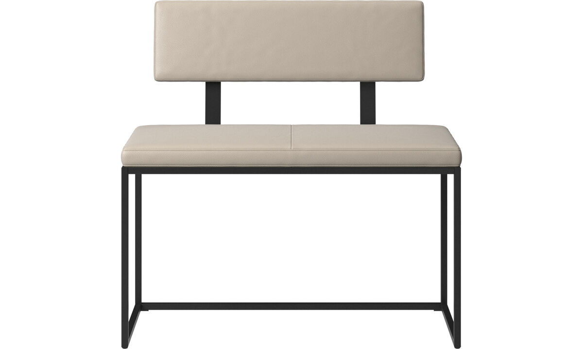 Benches - London small bench with cushion and backrest - Beige - Leather
