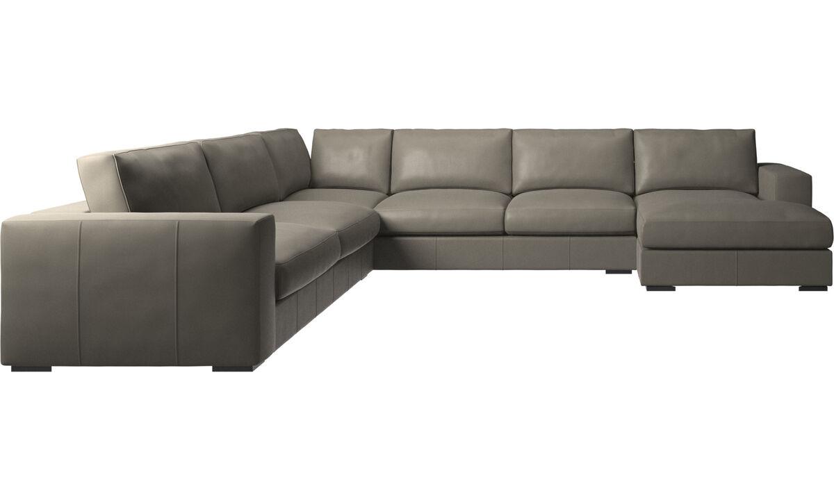 Chaise longue sofas - Cenova corner sofa with resting unit - Grey - Leather