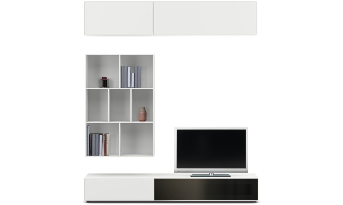 Wall systems - Lugano wall system with drawer, drop down and flip up doors - Grey - Lacquered