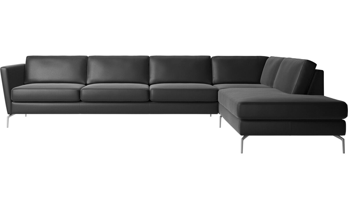 Corner sofas - Osaka corner sofa with lounging unit, regular seat - Black - Leather