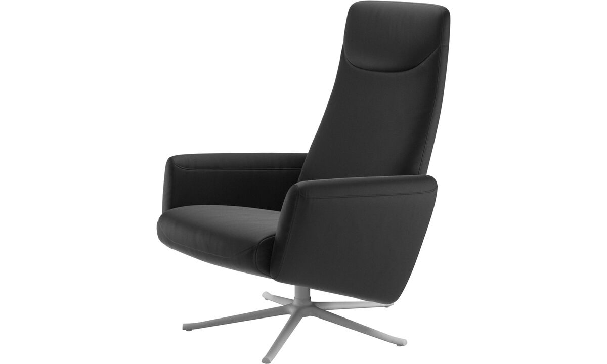 Recliners - Lucca recliner with swivel function - Black - Leather