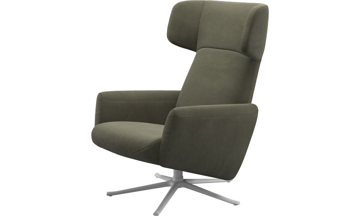 Recliners - Lucca wing recliner with swivel function - Green - Leather