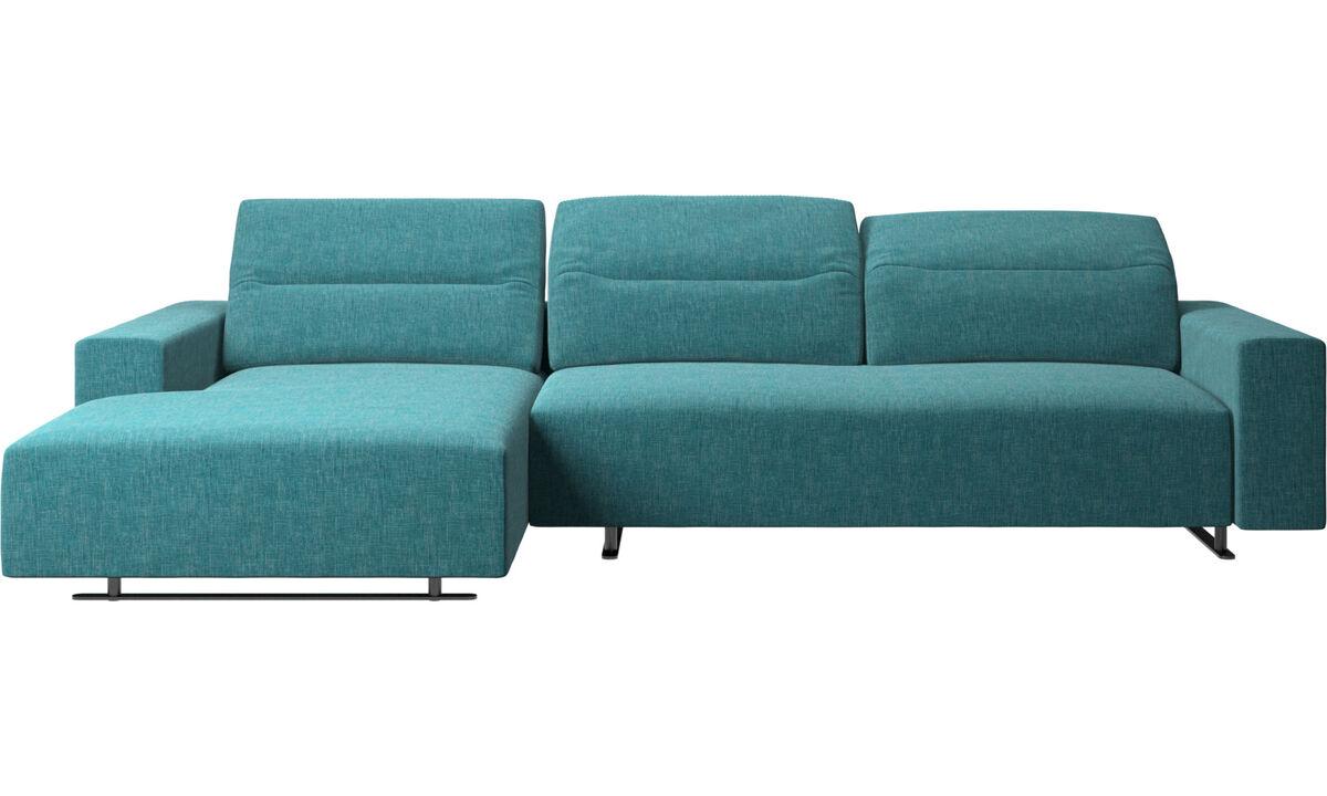 Sofás con chaise longue - Sofá Hampton con respaldo ajustable, módulo de descanso y almacenamiento en ambos lados - En azul - Tela