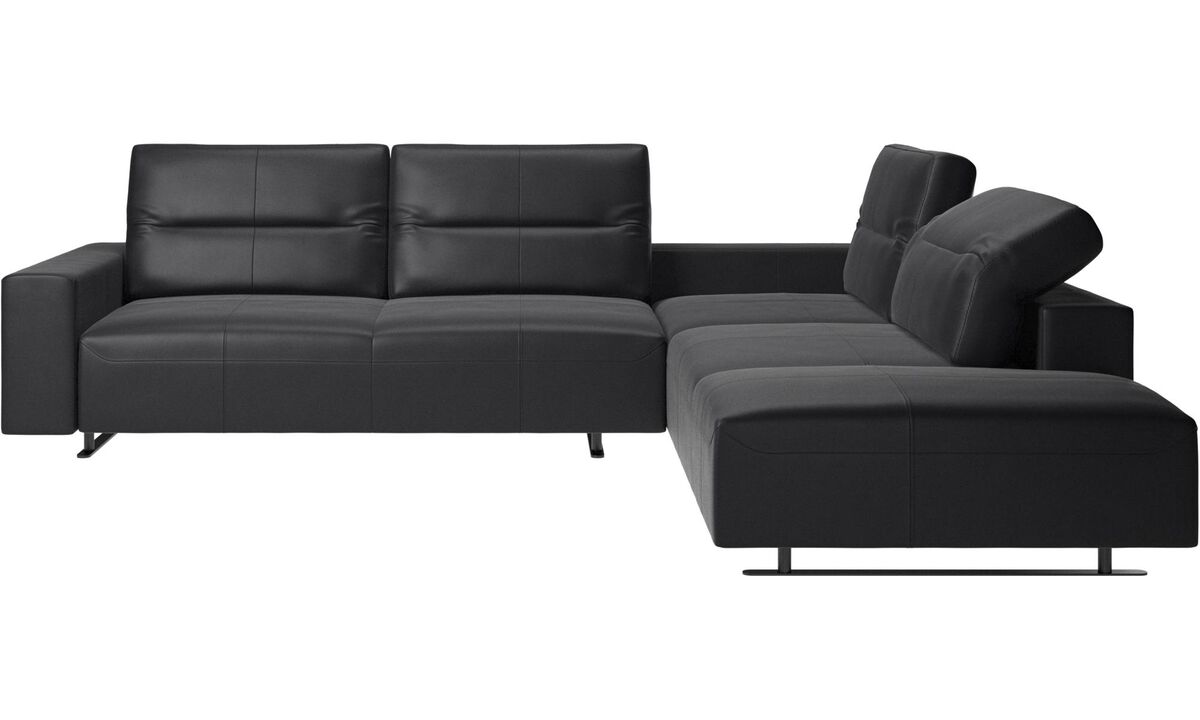 Corner sofas - Hampton corner sofa with adjustable back and lounging unit - Black - Leather