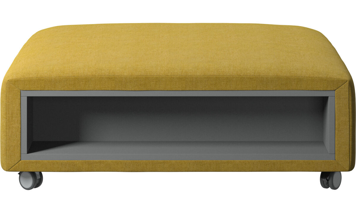 Footstools - Hampton footstool on wheels with storage left and right sides - Yellow - Fabric