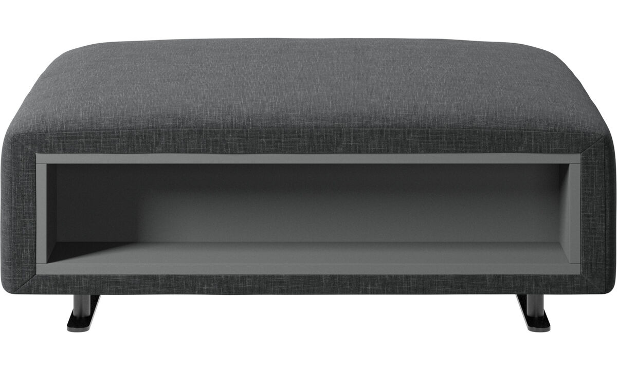 Footstools - Hampton footstool with storage left and right sides - Grey - Fabric