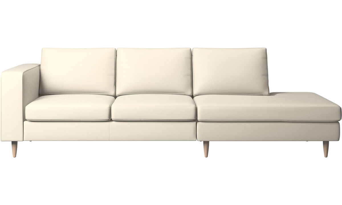 Sofas with open end - Indivi divano con lounge - Bianco - Pelle