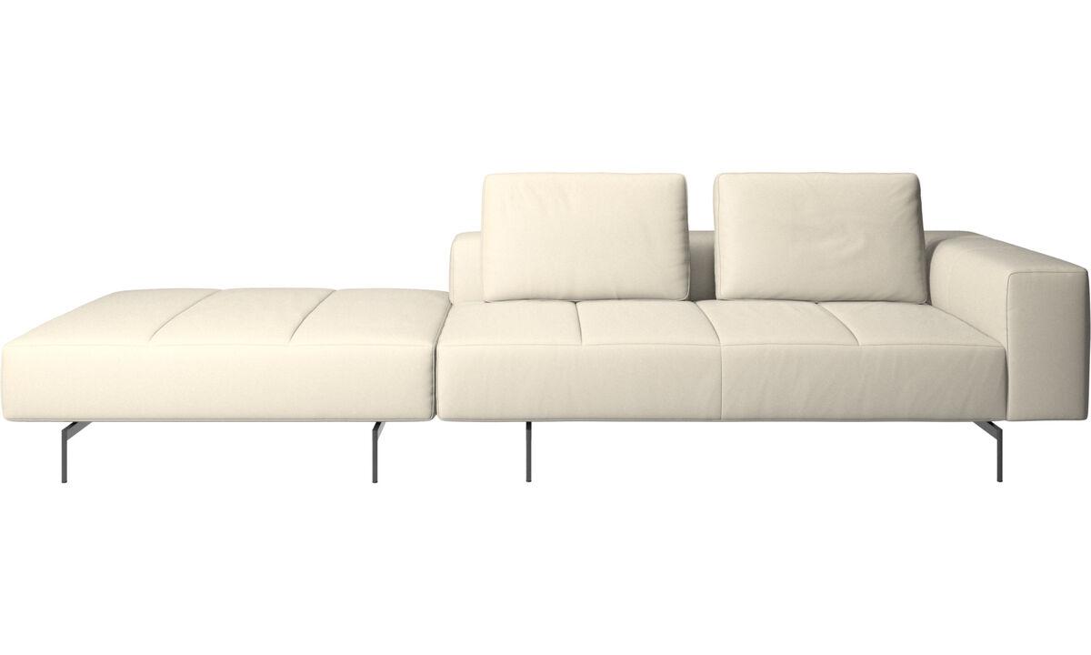 Sofás modulares - Sofá Amsterdam com puff do lado esquerdo - White - Couro