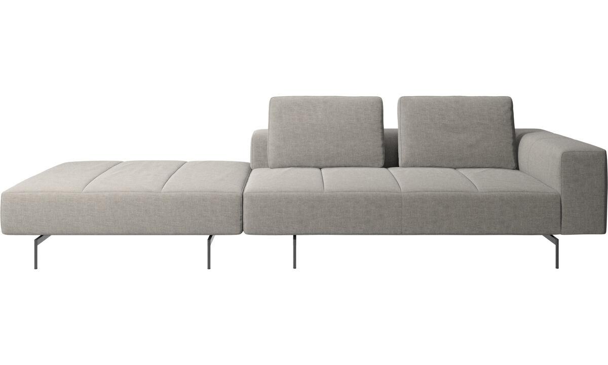 3-sitzer Sofas - Amsterdam Sofa mit Pouf auf der linken Seite - Grau - Stoff