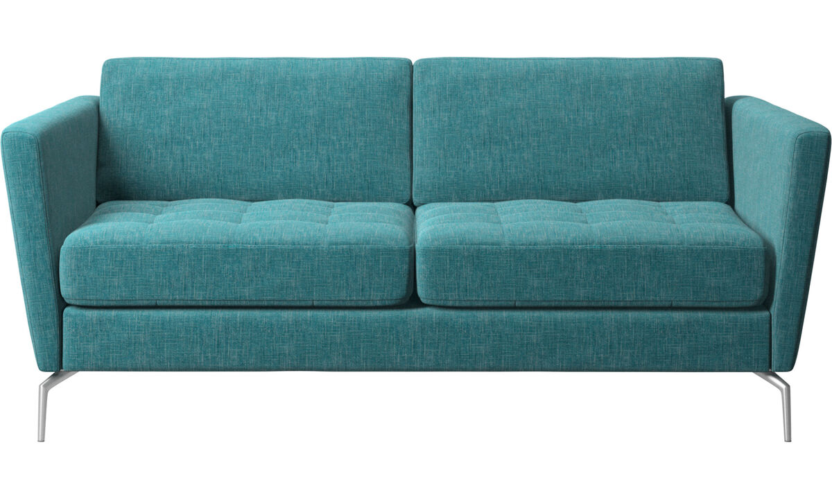 2 seater sofas - Osaka sofa, tufted seat - Blue - Fabric