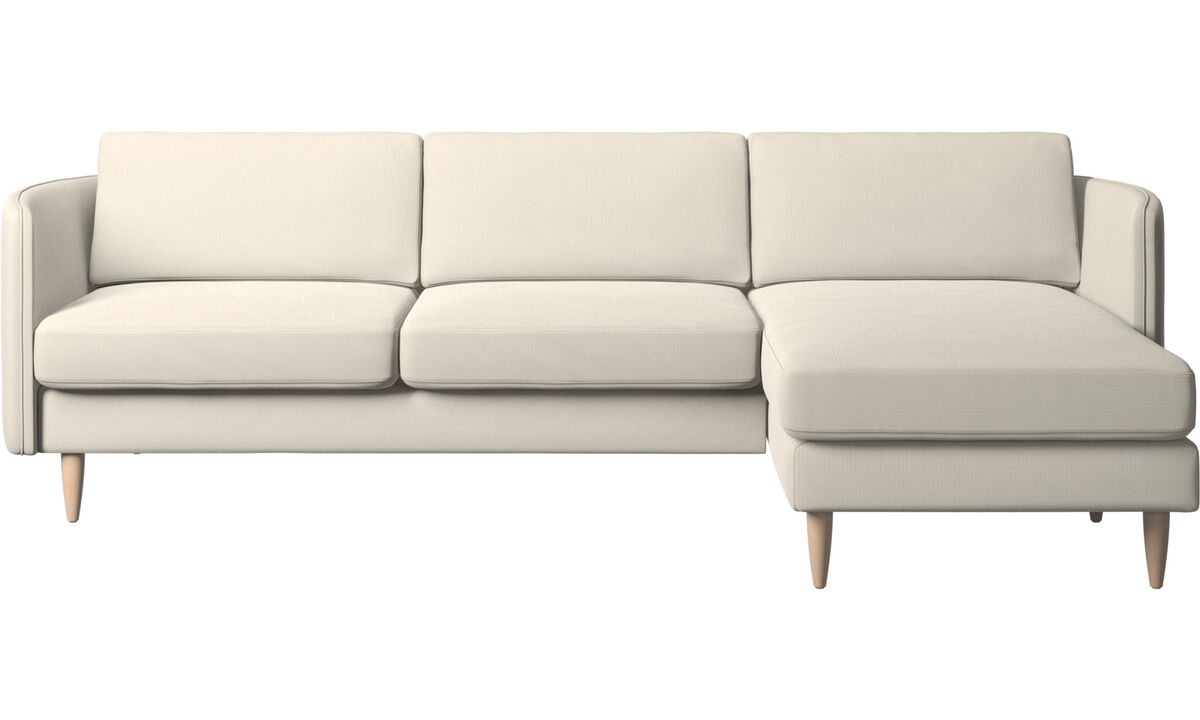 Chaise lounge sofas - Osaka sofa with resting unit, regular seat - White - Fabric