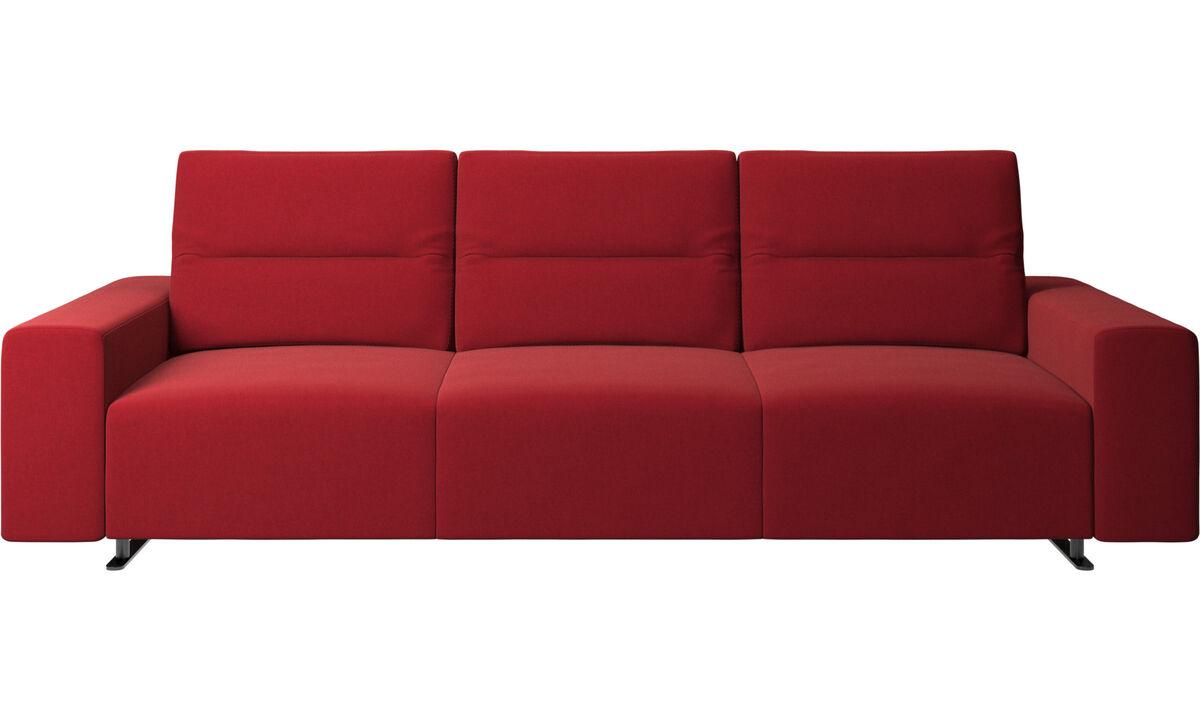 Sofás de 3 lugares - Sofá Hampton com encosto ajustável e armazenamento na lateral direita - Vermelho - Tecido