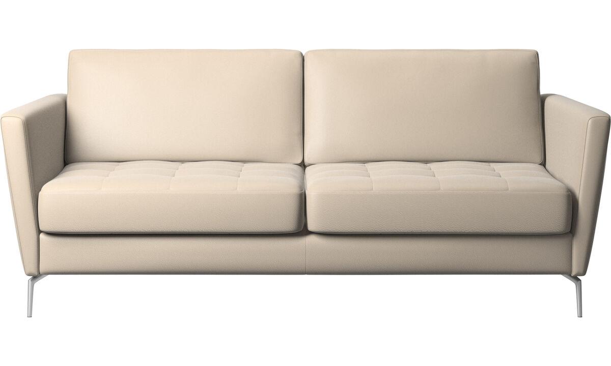 Sofa beds - Osaka sofa bed, tufted seat - Beige - Leather