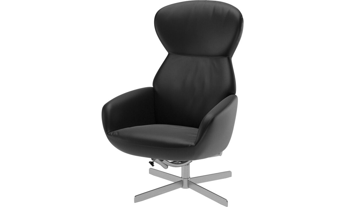 Recliners - Athena chair with reclining back function and swivel base - Black - Leather