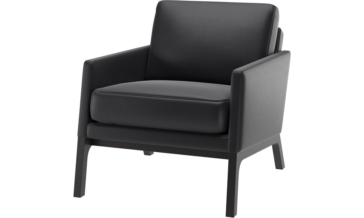Armchairs and footstools - Monte chair - Black - Leather