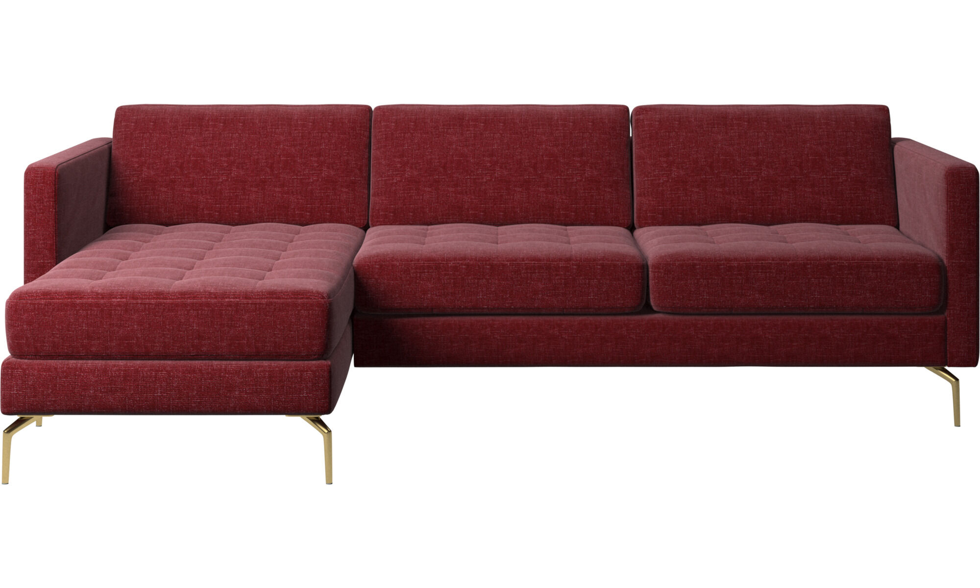 Chaise Longue Sofas   Osaka Sofa With Resting Unit, Tufted Seat   Red    Fabric