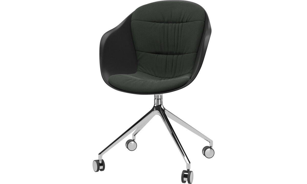 Home office chairs - Adelaide chair with swivel function and wheels - Green - Fabric