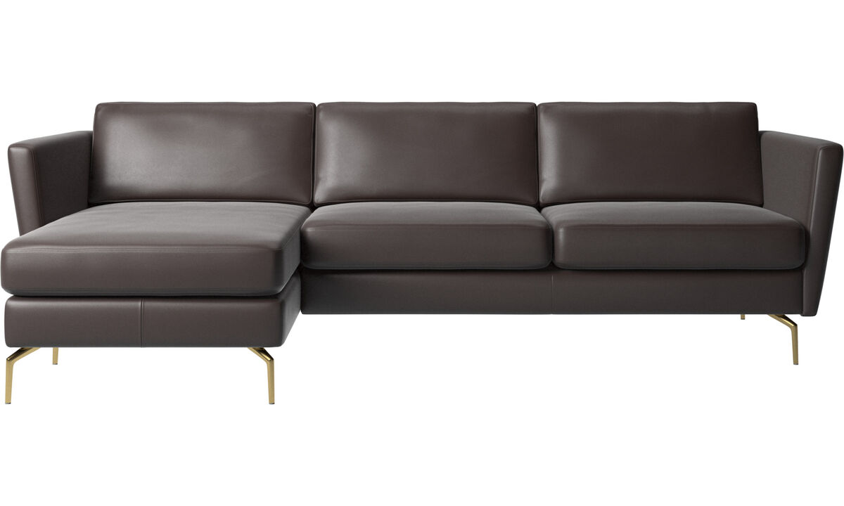 Chaise lounge sofas - Osaka sofa with resting unit, regular seat - Brown - Leather