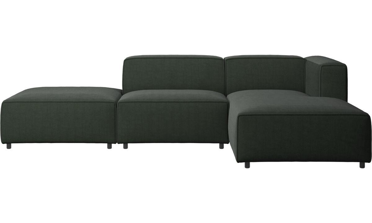 Sofás con lado abierto - sofá Carmo con módulo chaise-longue - En verde - Tela