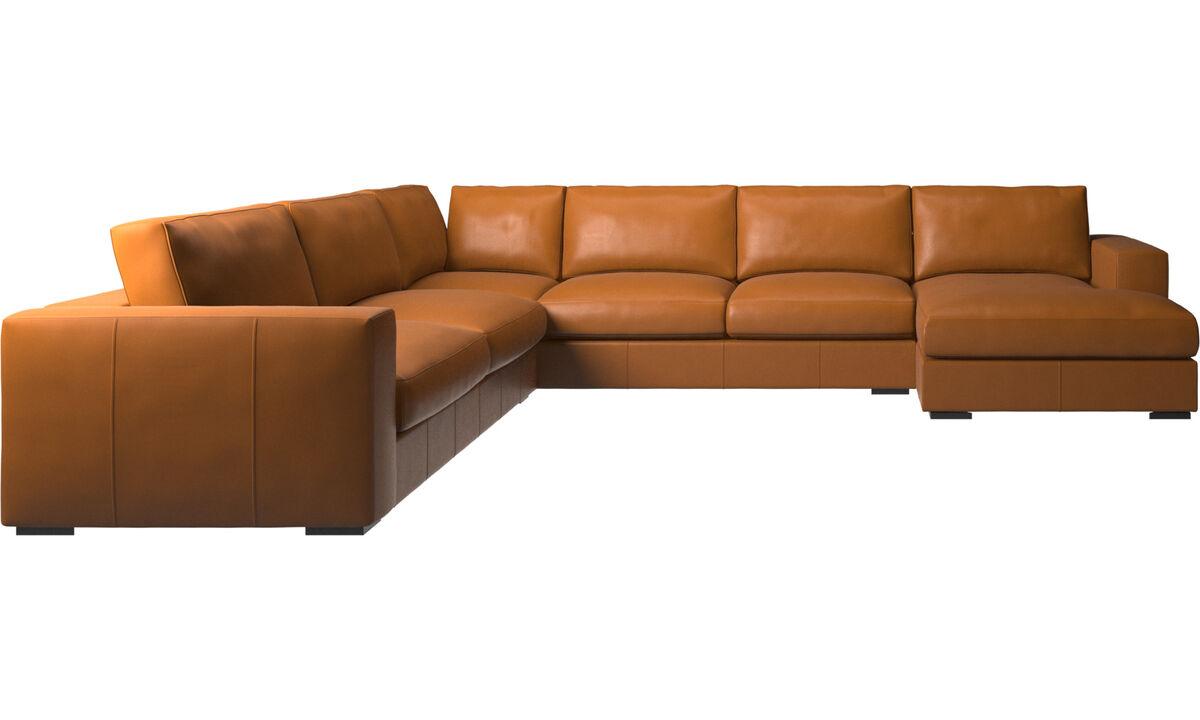 Corner sofas - Cenova divano ad angolo con penisola relax - Marrone - Pelle