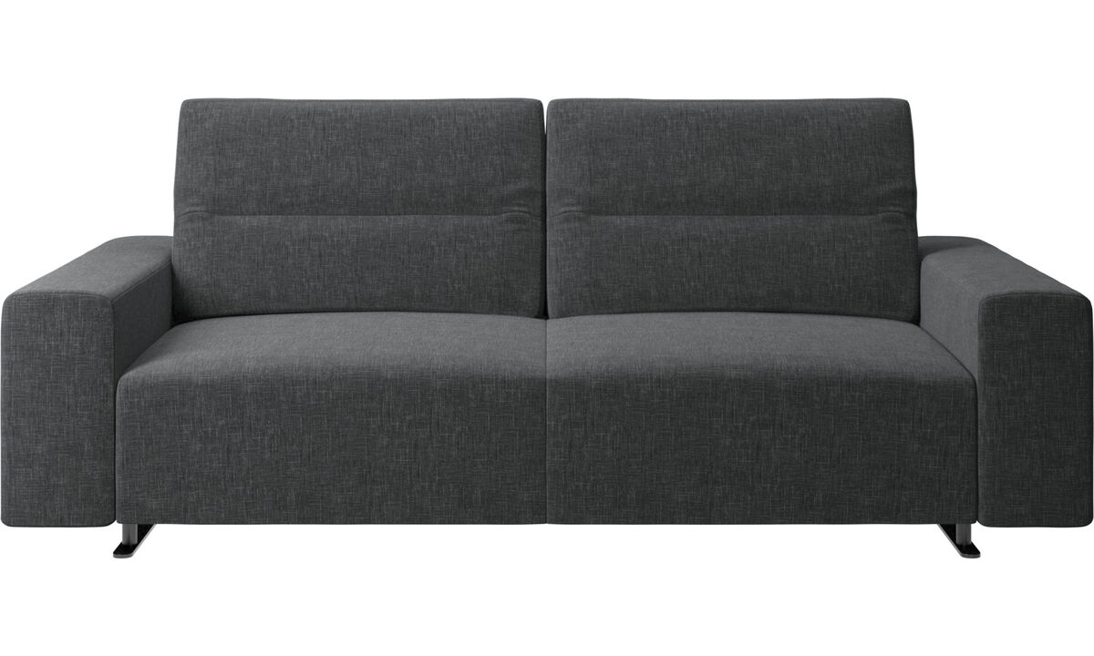 2.5 seater sofas - Hampton sofa with adjustable back and storage on the right side - Grey - Fabric