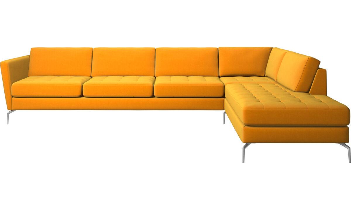 Sofás con lado abierto - sofá esquinero Osaka con módulo de descanso, asiento en capitoné - Naranja - Tela