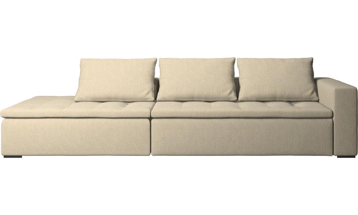 Sofas with open end - Mezzo divano con lounge - Marrone - Tessuto