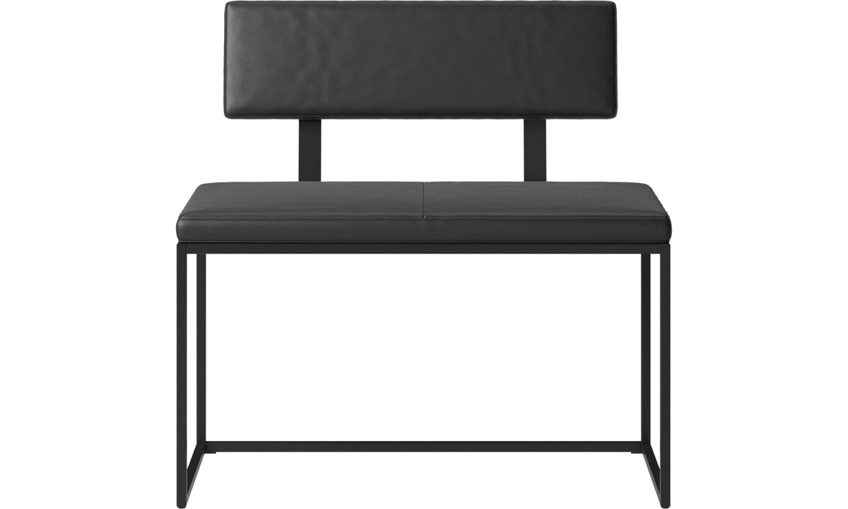 Benches - London small bench with cushion and backrest - Black - Leather