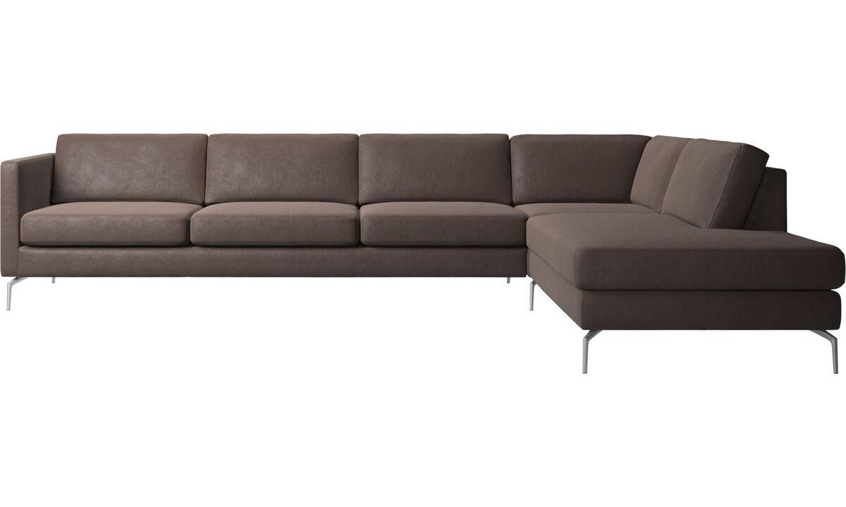 Sofy narożne - Sofa narożna Osaka z modułem wypoczynkowym, standardowe siedzisko - Brązowy - Skóra