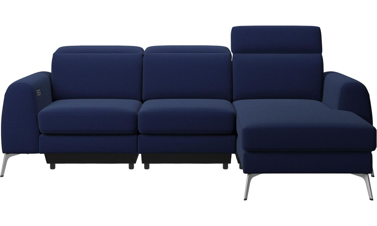 3 seater sofas - Madison sofa with resting unit and adjustable headrest - Blue - Fabric