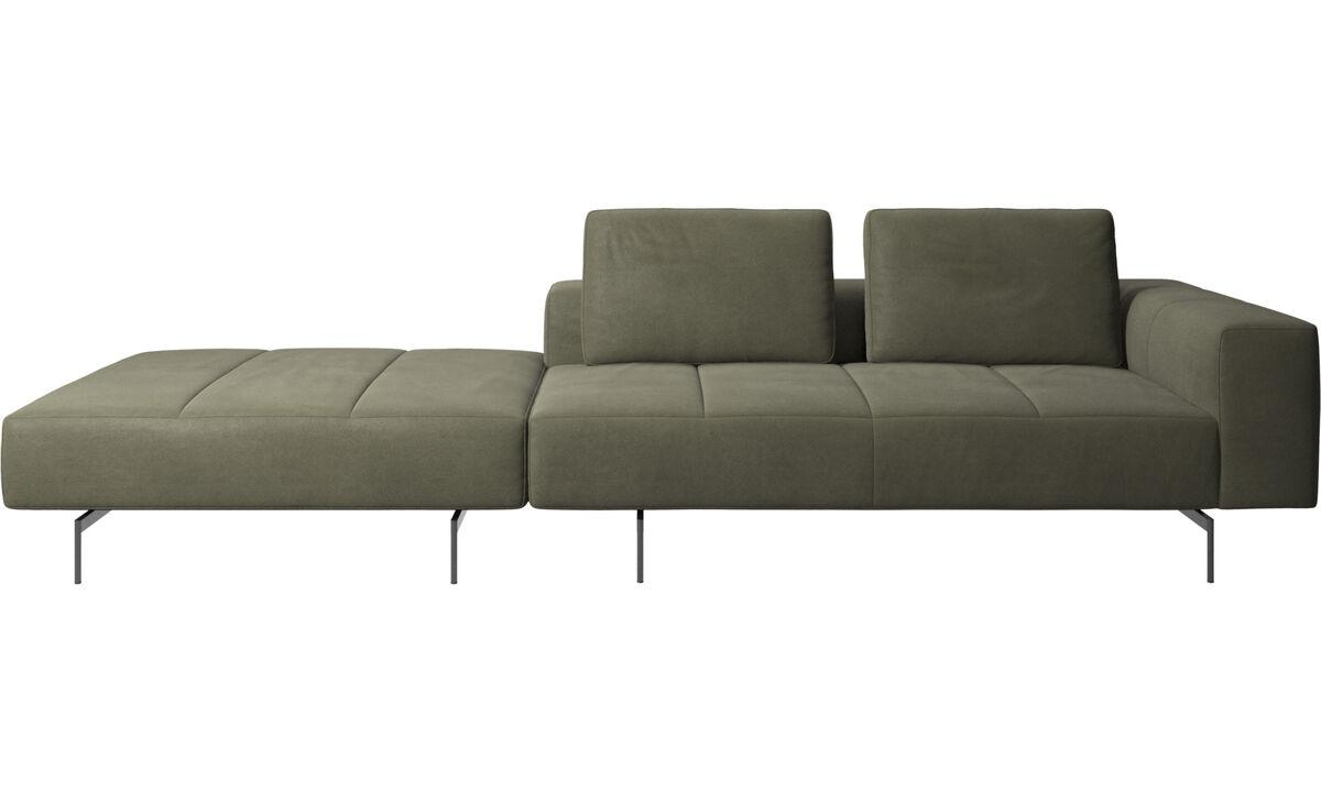 3-sitzer Sofas - Amsterdam Sofa mit Pouf auf der linken Seite - Grün - Leder
