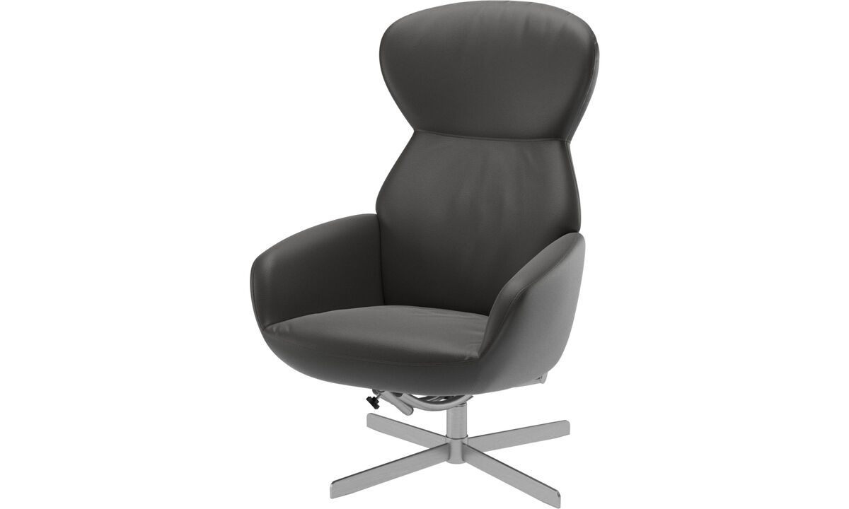 Armchairs - Athena chair with reclining back function and swivel base - Grey - Leather