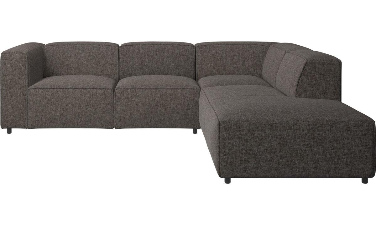 Sofás reclinables - Sofá esquinero Carmo con movimiento - En marrón - Tela