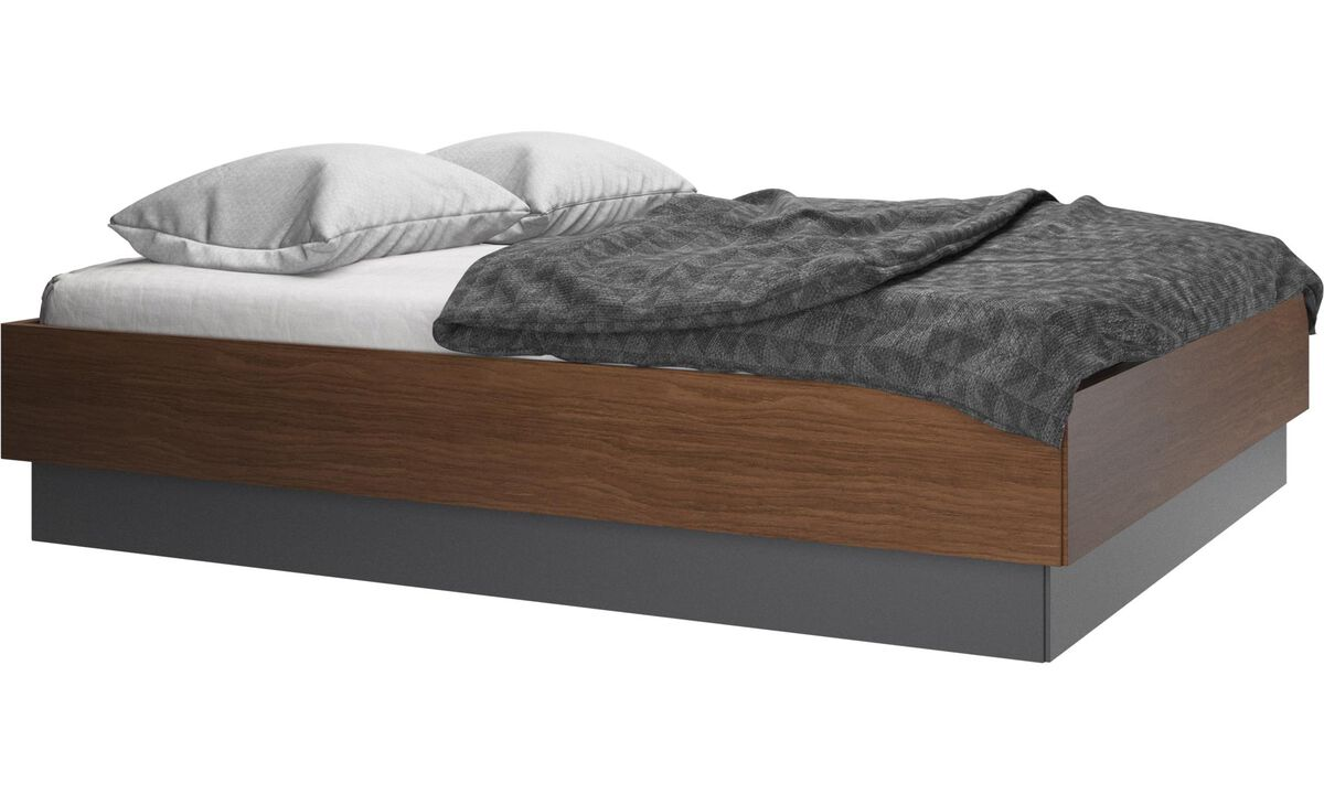 New beds - Lugano storage bed with lift-up frame and slats, excl. mattress - Brown - Walnut