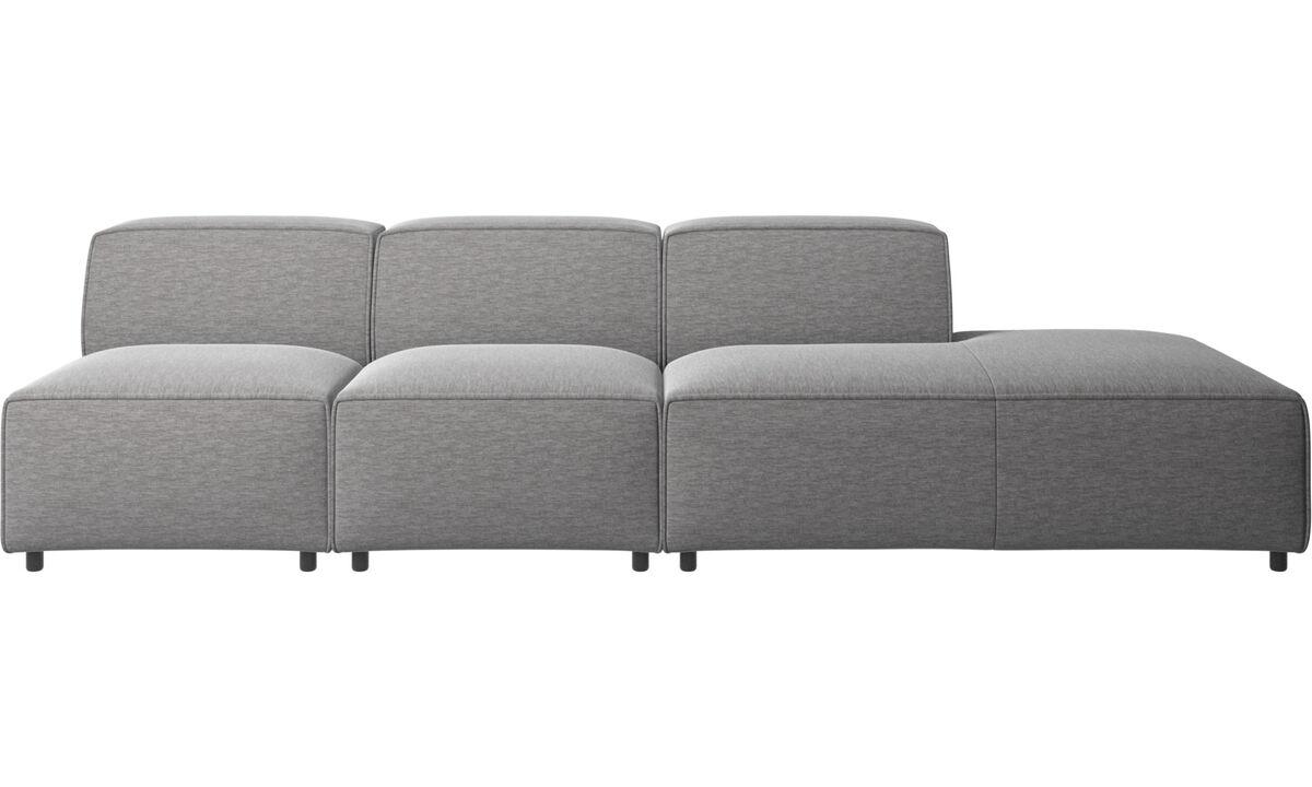 Sofás modulares - Sofá Carmo con módulo de descanso - En gris - Tela