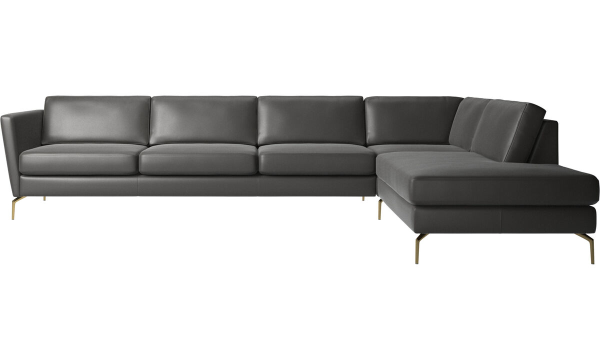 Sofas with open end - Osaka corner sofa with lounging unit, regular seat - Gray - Leather