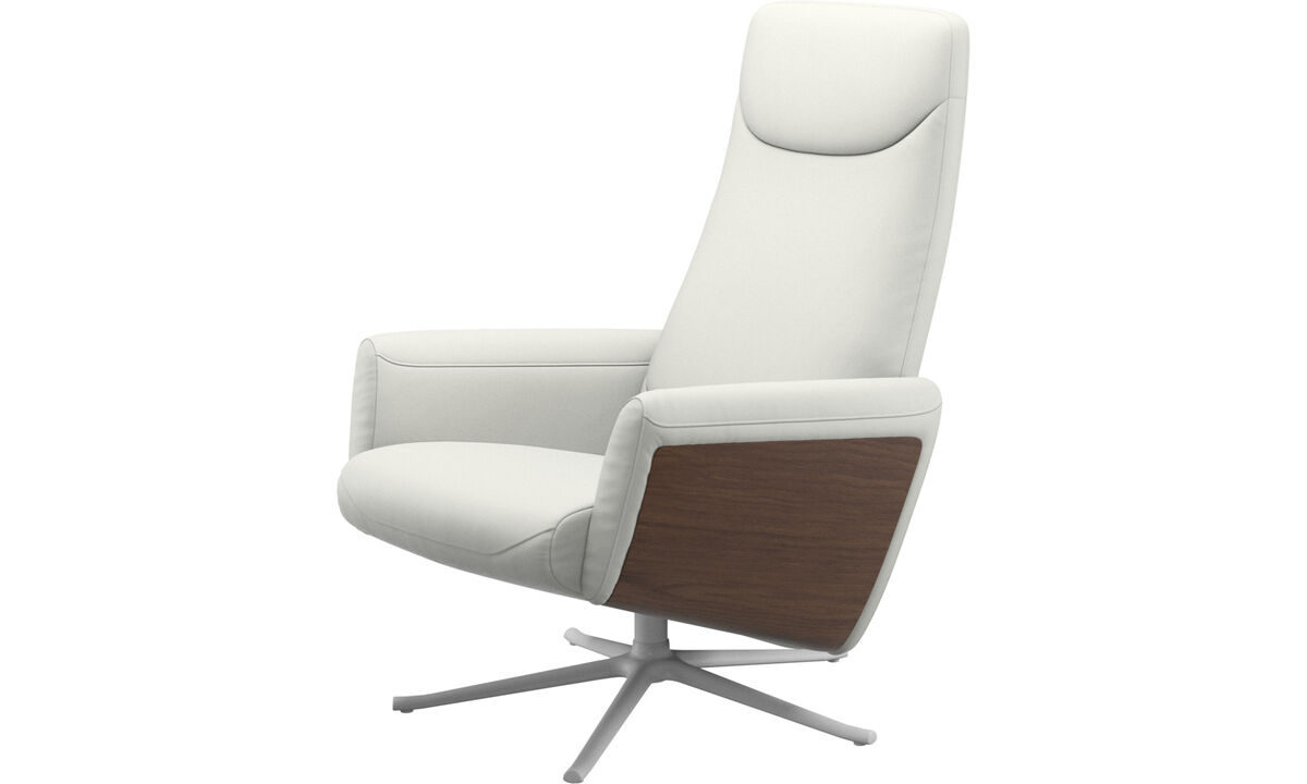 Recliners - Lucca recliner with swivel function - White - Leather
