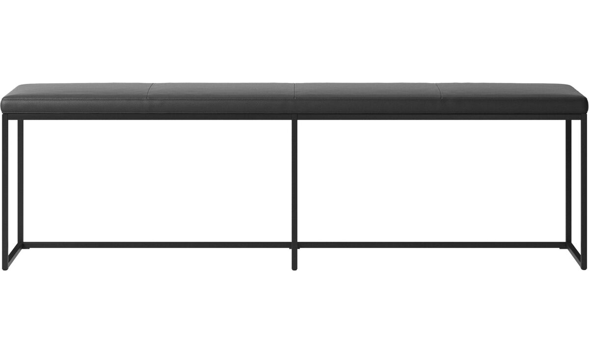 Benches - London large bench with cushion - Black - Leather