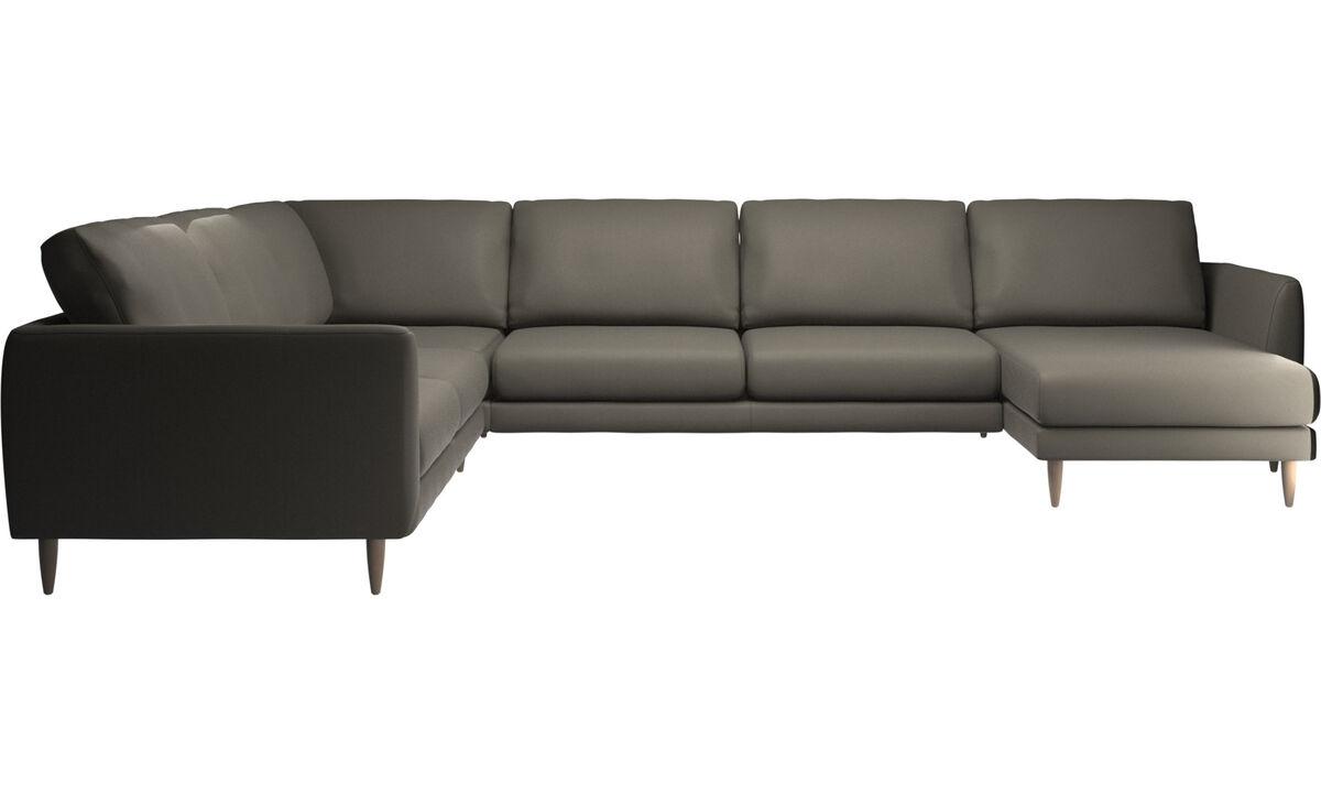 Sofás com chaise - sofá de canto Fargo com módulo chaise-longue - Cinzento - Pele