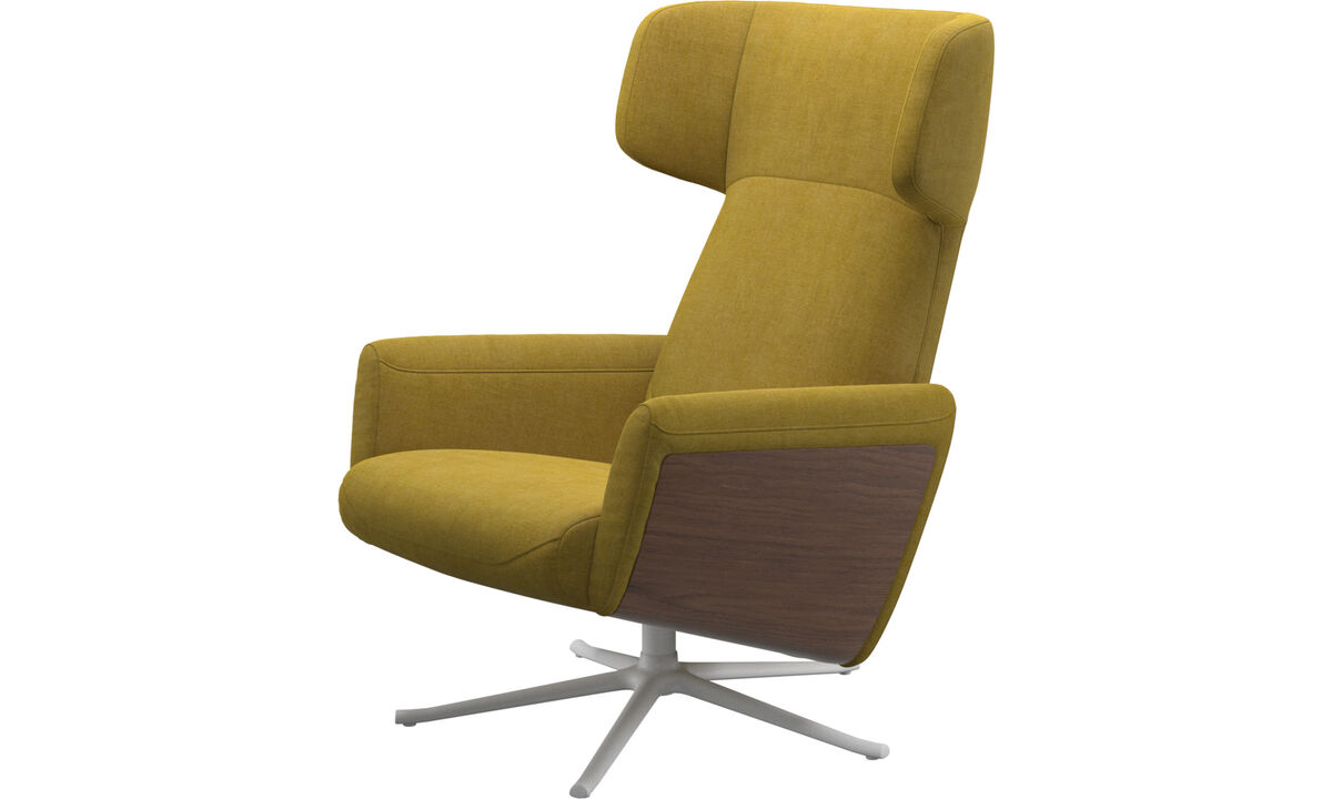 Sillones - butaca reclinable Lucca con función giratoria - En amarillo - Tela