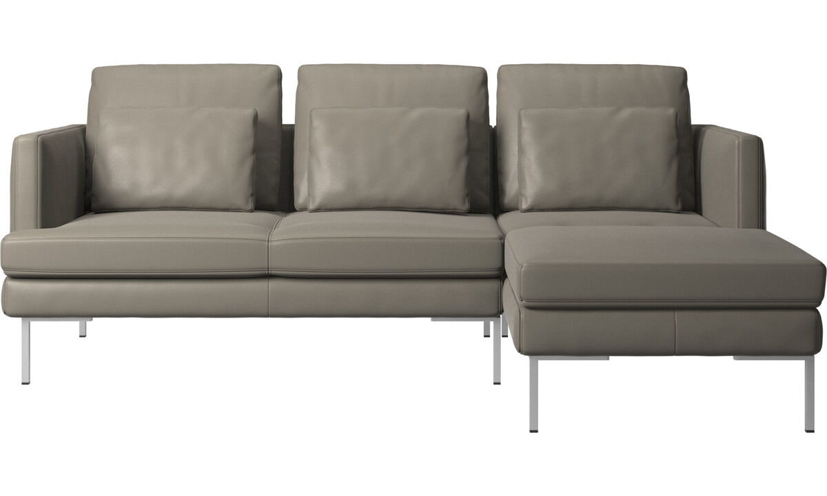 3 seater sofas - Istra 2 sofa with resting unit - Grey - Leather