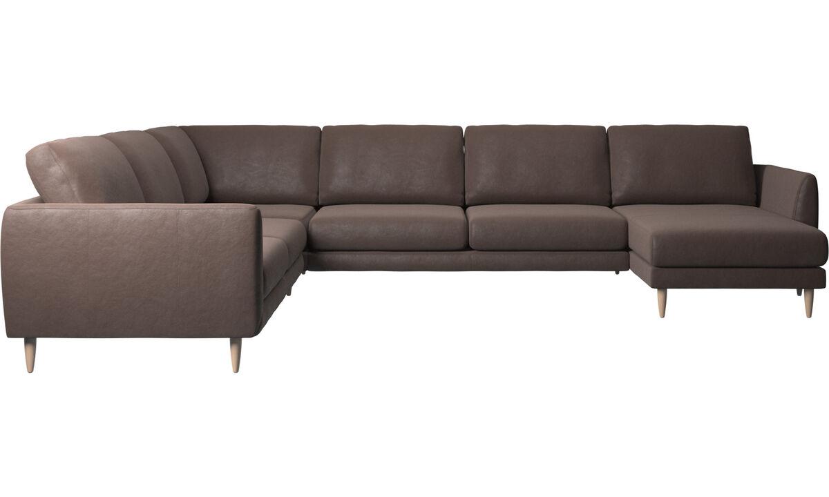 Угловые диваны - угловой диван Fargo с модулем для отдыха - Коричневого цвета - Кожа